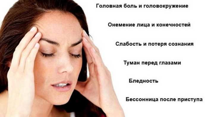 Симптомы спазмов сосудов головы